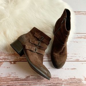 Clarks Triple Buckle Brown Boots